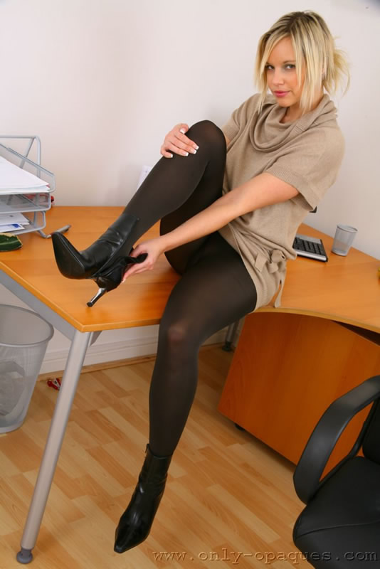 Dirty blonde model Kayla Kayden posing for tease shoot in black nylons  1322471