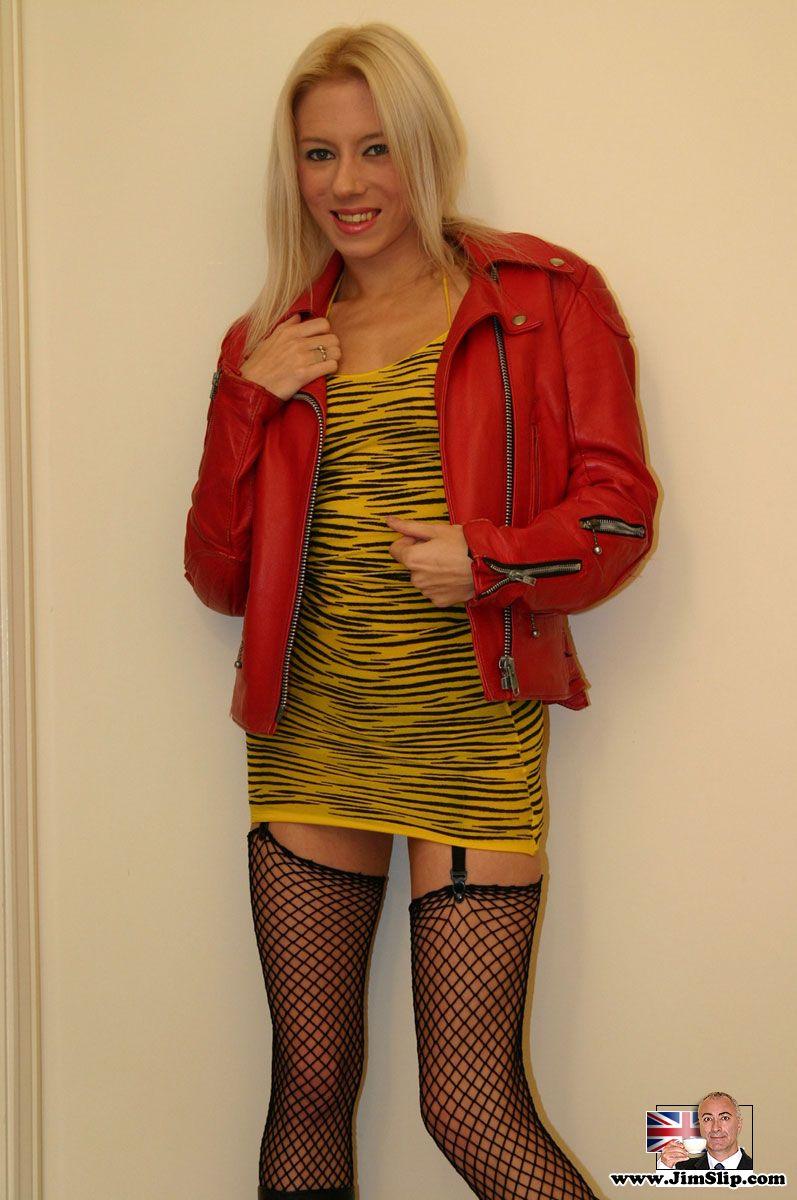 Blonde British teen slut in black stocking fucking old man.