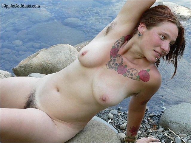 Erotika beautiful curvy hairy hippie girl with large