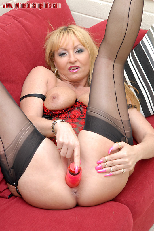 Stocking dildo sex mature