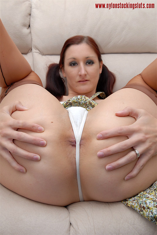 Mature women panties wearing white