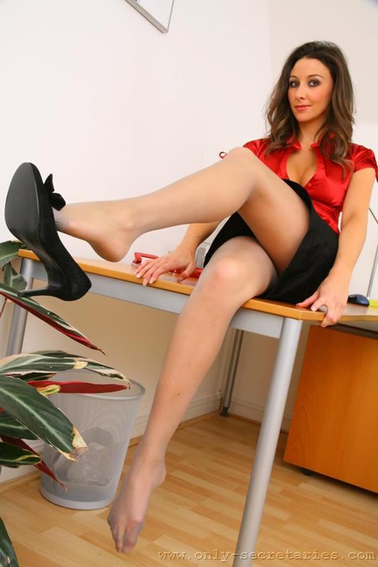 Office girl pantyhose feet