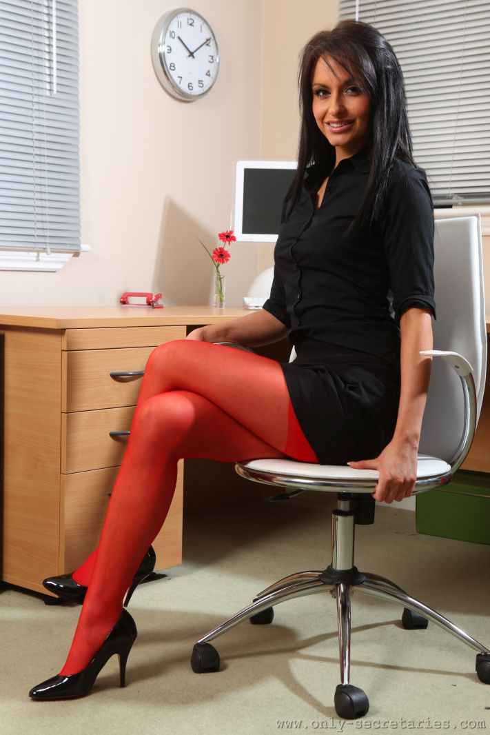 Red stockings are very sexy for your boss  - XXX Dessert - Picture 2
