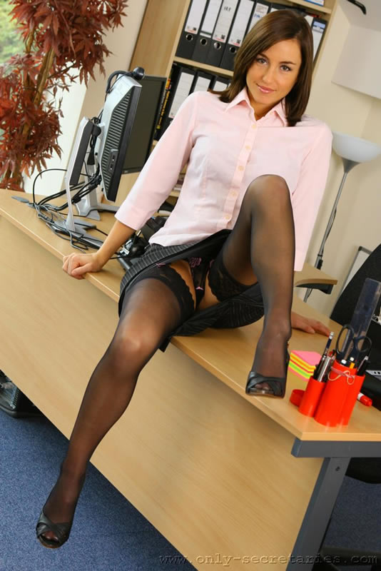 Upskirt secretary desk diaz