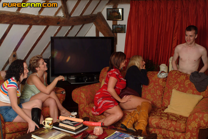 A bunch of girls have fun with a naked guy  - XXX Dessert - Picture 2