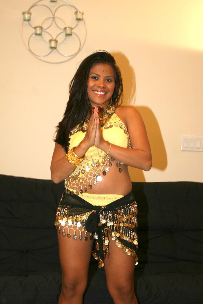 Petite indian babe catita playing with her dessert picture