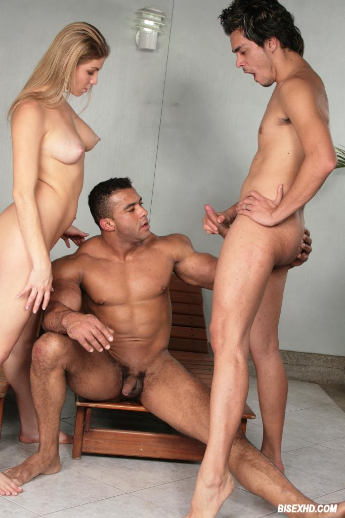 Blonde joins hardcore bisex male couple 3