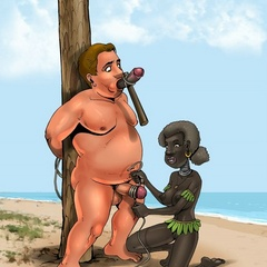Cartoon sex. Ethnic femdom games with a fat slave. - Picture 3