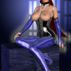 Porno 3d. Latex fetish and hooter spanking of breasty - Picture 5