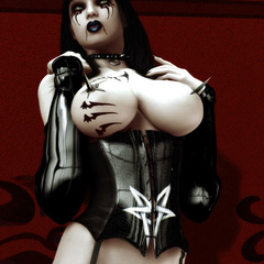3dporn. Two sadistic dominatresses in latex uniforms - Picture 3