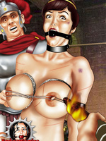 Bondage toons. Weapon and cage - cold steel of male - Picture 2