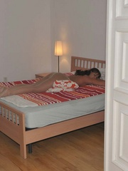 Nylon sex. Luciana and Simony tied in bed to - Unique Bondage - Pic 12
