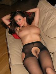 Nylon porn. Kyla tied in crotchless - Unique Bondage - Pic 12