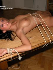 Nylon porno. Linda tied naked fully spread. - Unique Bondage - Pic 24