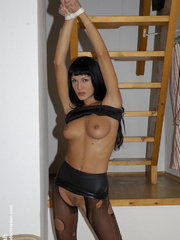 Pantyhose feet. Sarah in ripped open - Unique Bondage - Pic 14