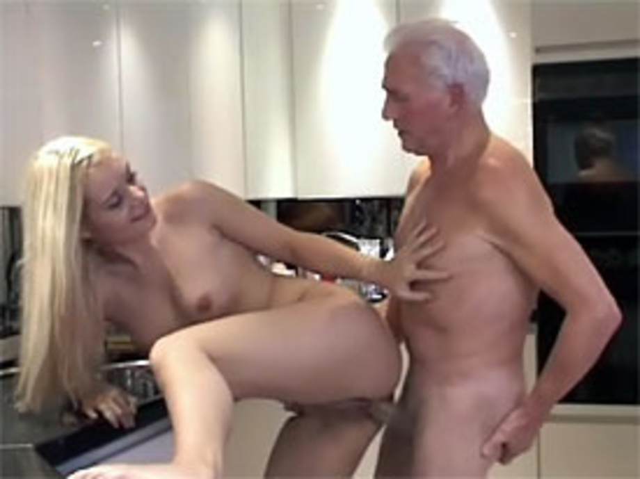 Grandpa pounding her wet pussy in the kitchen.