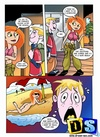 Cartoon redhead Kim Possible having dirty threesome fun.