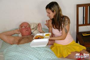 Xxx hardcore. Grandpa fucking the food d - Picture 3