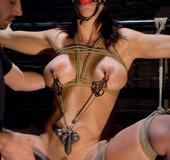 Bondage xxx. Busty girl sucks cock and ass fucked in bondage.