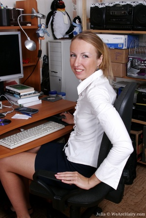 Horny hairy. Join in Julia's office anti - XXX Dessert - Picture 1