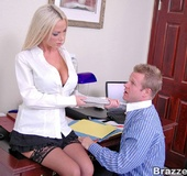 Office lady. Nikki Benz going anything for her coworker attention even
