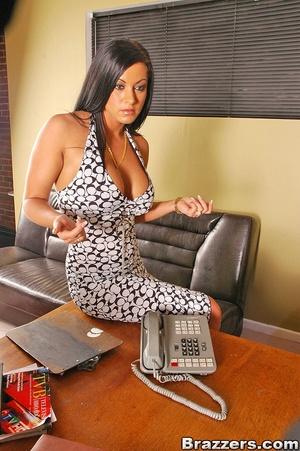 Horny secretary. Big boobs brunette secr - XXX Dessert - Picture 4
