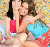 18 teen girl. Two lesbian teenie girls banging eachother with a strapon.