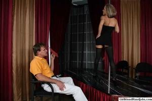 Tug hand job. Brunette gives a man a hap - XXX Dessert - Picture 4