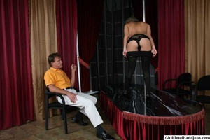 Tug hand job. Brunette gives a man a hap - XXX Dessert - Picture 8