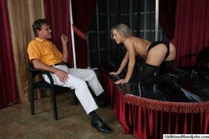 Tug hand job. Brunette gives a man a hap - XXX Dessert - Picture 10