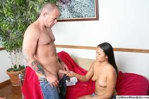 Tug hand job. Brunette gives a man a hap - XXX Dessert - Picture 11