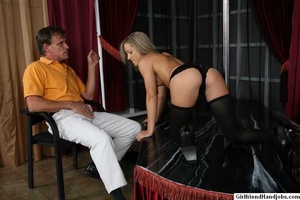 Tug hand job. Brunette gives a man a hap - XXX Dessert - Picture 12