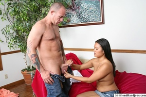 Tug hand job. Brunette gives a man a hap - XXX Dessert - Picture 13