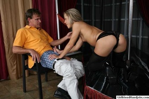 Tug hand job. Brunette gives a man a hap - XXX Dessert - Picture 16