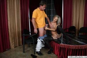 Tug hand job. Brunette gives a man a hap - XXX Dessert - Picture 24