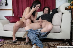 Tug jobs. Horny man gets a handjob from  - XXX Dessert - Picture 12