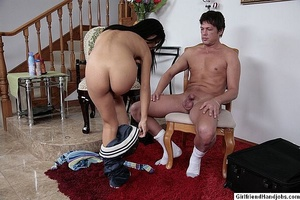 Handjob sex. Woman in bed jerks off her  - XXX Dessert - Picture 10