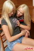 Teen porn. Busty blonde lesbian babes dildoing her assholes.