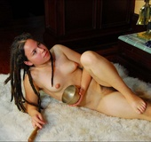 Erotic models. Young hippie with puffy breasts, hairy bush and thick pit