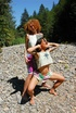Erotic online. Two natural naked alternative hippis girls playing on the
