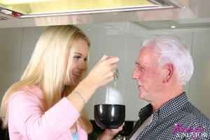 Old and young. Blonde beauty adores an o - XXX Dessert - Picture 2
