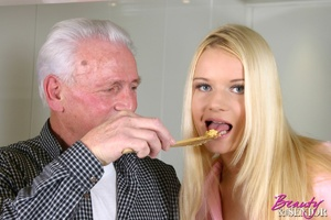 Old and young. Blonde beauty adores an o - XXX Dessert - Picture 5