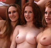 Hot redhead. 8 Natural Redhead fondling each other.