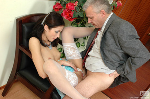 Old and young. Lean girl having her old  - XXX Dessert - Picture 15
