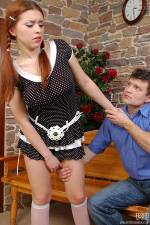 Old having sex with young. Pigtailed red - XXX Dessert - Picture 4