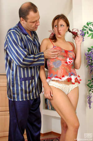 Old and young. Pigtailed girl in temptin - XXX Dessert - Picture 5