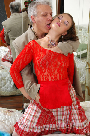 Old young love. Sexy maid clad in red ge - XXX Dessert - Picture 7