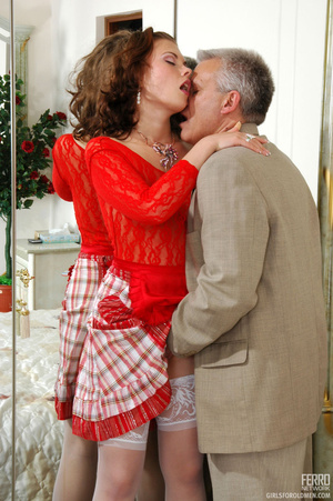 Old young love. Sexy maid clad in red ge - XXX Dessert - Picture 8
