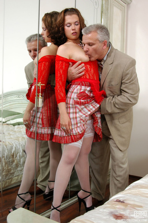 Old young love. Sexy maid clad in red ge - XXX Dessert - Picture 10