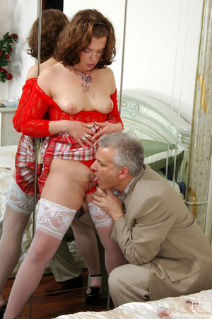 Old young love. Sexy maid clad in red ge - XXX Dessert - Picture 11